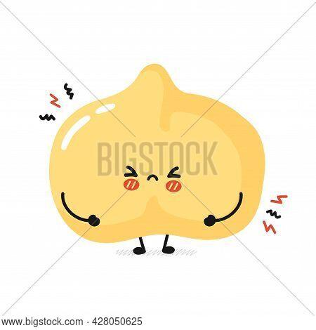 Cute Funny Sad Chickpea Bean Character. Vector Flat Cartoon Kawaii Character Illustration Icon. Isol
