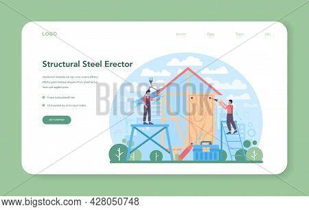 Installer Web Banner Or Landing Page. Worker In Uniform Installing