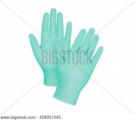 Medical Nitrile Gloves.two Green Surgical Gloves Isolated On White Background With Hands. Rubber Glo