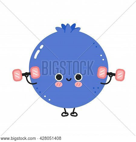 Cute Funny Blueberry Berry Make Gym With Dumbbells. Vector Flat Line Cartoon Kawaii Character Illust