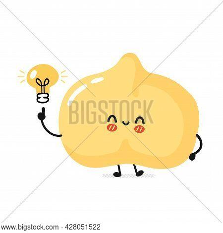 Cute Funny Chickpea Bean Character With Idea Light Bulb . Vector Flat Cartoon Kawaii Character Illus