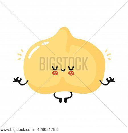 Cute Funny Chickpea Bean Character Meditate In Yoga Pose. Vector Flat Cartoon Kawaii Character Illus