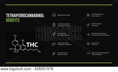 Tetrahydrocannabinol Benefits, Black Poster With Benefits With Icons And Tetrahydrocannabinol Chemic