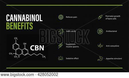 Cannabinol Benefits, Black Poster With Cannabinol Benefits With Icons And Chemical Formula Of Cannab