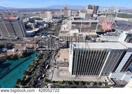 Las Vegas, Usa - April 14, 2014: Aerial View Of The Strip In Las Vegas. Among 25 Largest Hotels In T