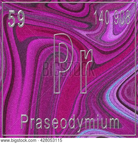 Praseodymium Chemical Element, Sign With Atomic Number And Atomic Weight, Periodic Table Element, Pi