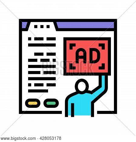 Algorithmic Ad Placement Publisher Color Icon Vector. Algorithmic Ad Placement Publisher Sign. Isola
