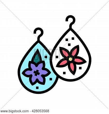 Earrings Resin Art Color Icon Vector. Earrings Resin Art Sign. Isolated Symbol Illustration