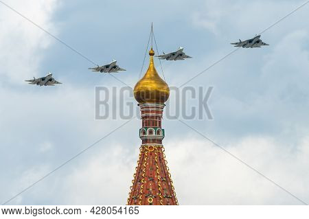 May 7, 2021, Moscow, Russia. Russian Fifth-generation Su-57 Multi-role Fighters Over Red Square In M