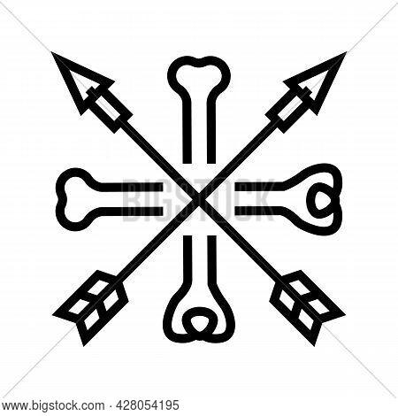 Bones And Arrows Boho Line Icon Vector. Bones And Arrows Boho Sign. Isolated Contour Symbol Black Il