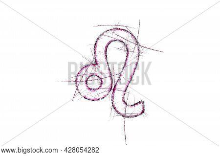 Leo Zodiac Sign, Horoscope Astrology Background, Leo Horoscope Symbol, Pink Symbol On White Backgrou