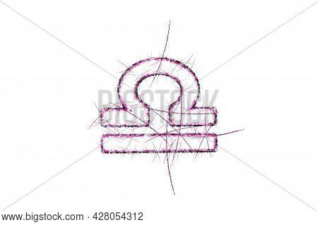 Libra Zodiac Sign, Horoscope Astrology Background, Libra Horoscope Symbol, Pink Symbol On White Back