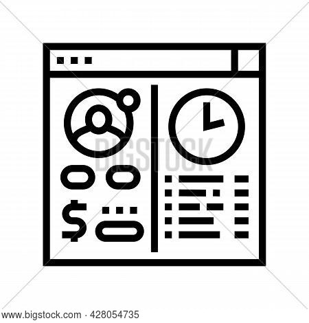 Opening Temporary Account Line Icon Vector. Opening Temporary Account Sign. Isolated Contour Symbol
