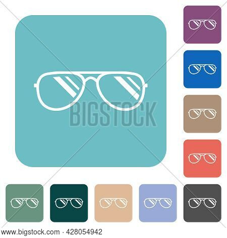 Glasses With Glosses White Flat Icons On Color Rounded Square Backgrounds