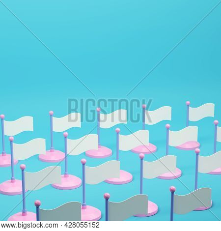 Array Of White Flags  On Bright Blue Background In Pastel Colors. Minimalism Concept. 3d Render