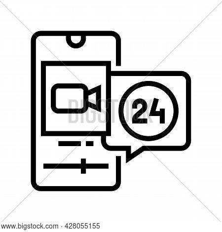 Video Movie Ephemeral Line Icon Vector. Video Movie Ephemeral Sign. Isolated Contour Symbol Black Il