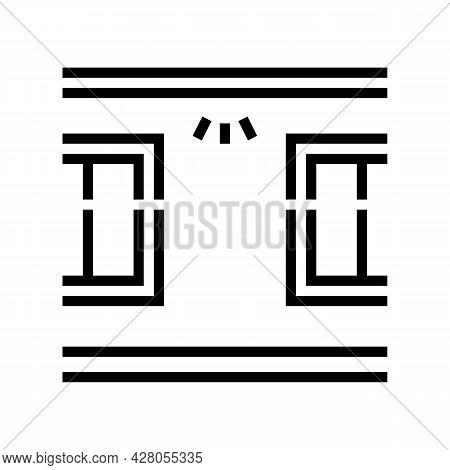Windows Top Lighting Line Icon Vector. Windows Top Lighting Sign. Isolated Contour Symbol Black Illu