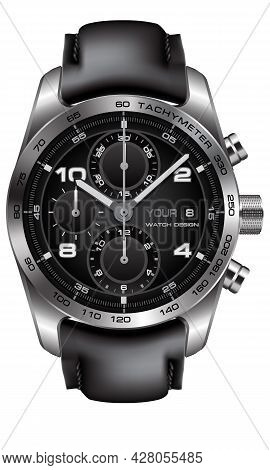 Realistic Silver Watch Clock Chronograph Leather Strap Black On White Design Classic Luxury Vector I