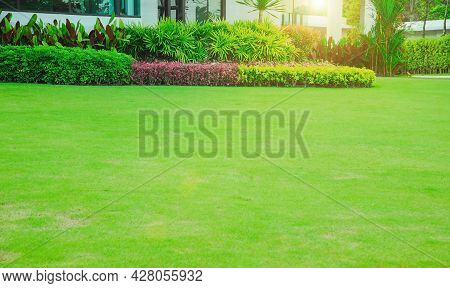 Modern House With Beautiful Landscaped Front Yard, Lawn And Garden, Green Lawn, Landscape Formal, Fr
