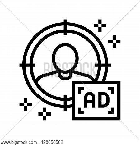 Sharp Targeting Line Icon Vector. Sharp Targeting Sign. Isolated Contour Symbol Black Illustration