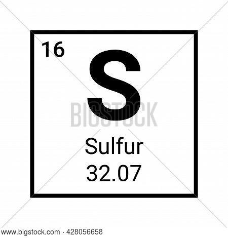 Sulfur Atom Element Periodic Table Icon. Vector Sulfur Symbol Chemistry