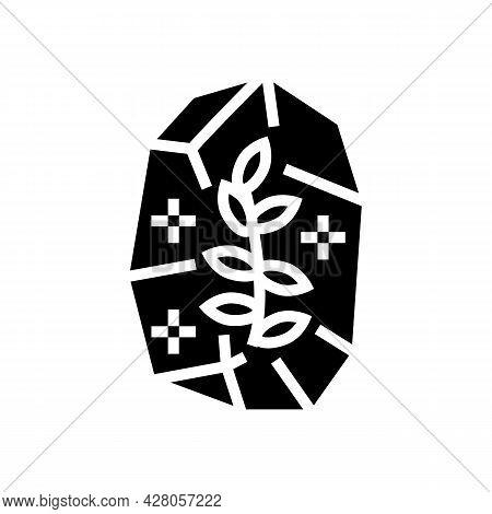 Stone With Plant Boho Glyph Icon Vector. Stone With Plant Boho Sign. Isolated Contour Symbol Black I