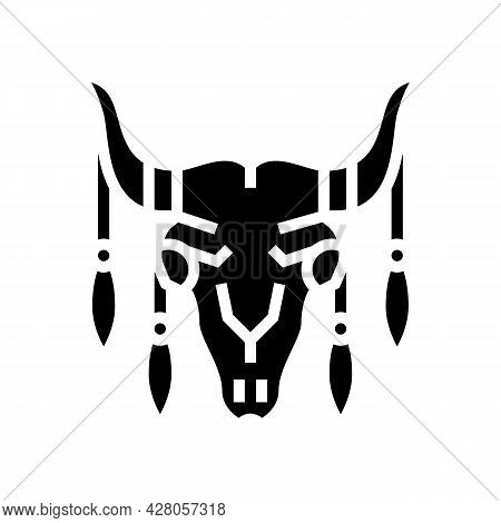 Animal Scull With Boho Decoration Glyph Icon Vector. Animal Scull With Boho Decoration Sign. Isolate