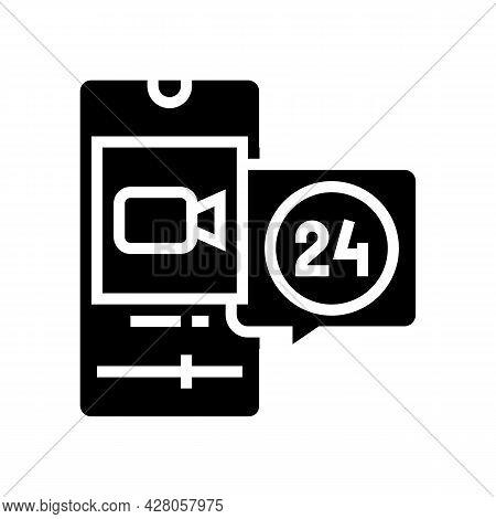 Video Movie Ephemeral Glyph Icon Vector. Video Movie Ephemeral Sign. Isolated Contour Symbol Black I