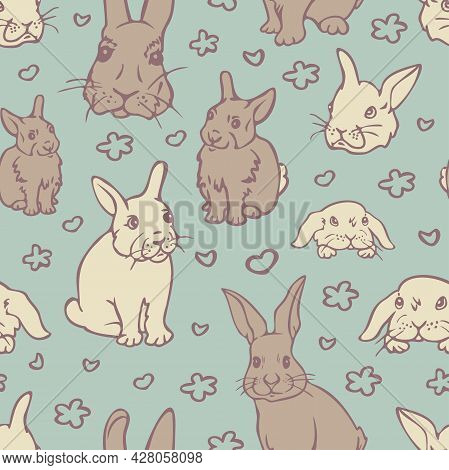 Vector Seamless Pattern With Charming Rabbits. Design With Bunnies And Outlines Of Flowers And Heart