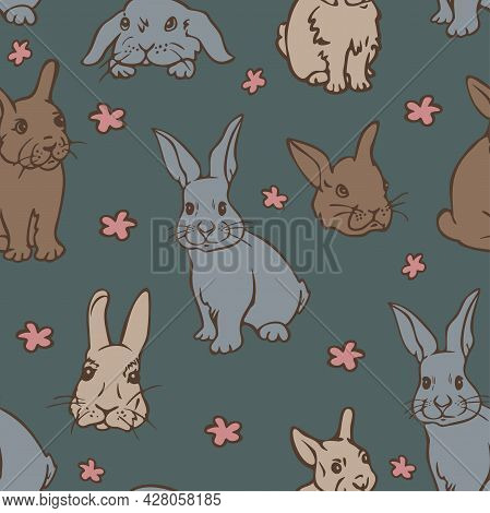 Vector Seamless Pattern With Cute Rabbits And Flowers. Charming Little Bunnies Illustration.