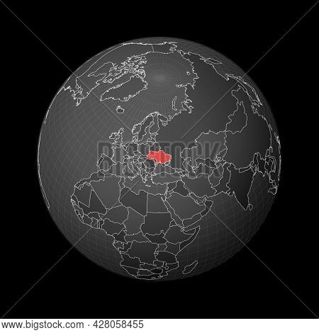 Dark Globe Centered To Ukraine. Country Highlighted With Red Color On World Map. Satellite World Pro