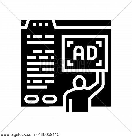 Algorithmic Ad Placement Publisher Glyph Icon Vector. Algorithmic Ad Placement Publisher Sign. Isola