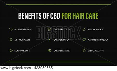 Benefits Of Cbd For Hair Care, Black Infographic Poster With Icons Of Medical Benefits Of Cbd For Ha