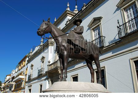 Woman on horse statue, Seville, Spain.