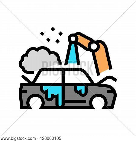 Factory Auto Paint Job Color Icon Vector. Factory Auto Paint Job Sign. Isolated Symbol Illustration