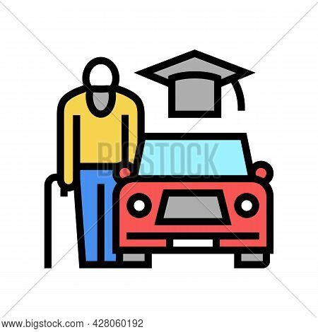 Driving Lessons For Seniors Color Icon Vector. Driving Lessons For Seniors Sign. Isolated Symbol Ill