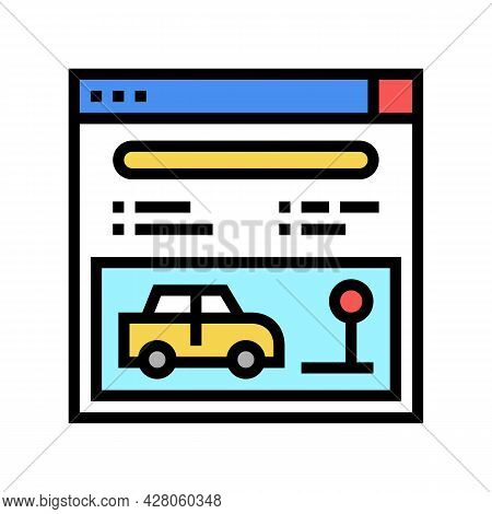 Online Driving School Lesson Color Icon Vector. Online Driving School Lesson Sign. Isolated Symbol I