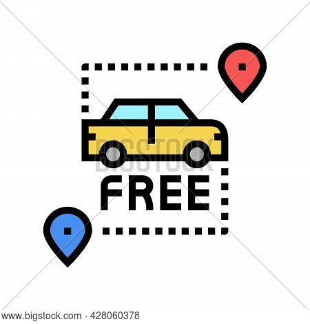 Free Pick Up And Drop Off Color Icon Vector. Free Pick Up And Drop Off Sign. Isolated Symbol Illustr