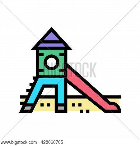 Slide Kindergarten Color Icon Vector. Slide Kindergarten Sign. Isolated Symbol Illustration