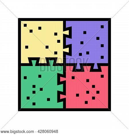 Puzzle Jigsaw Kindergarten Color Icon Vector. Puzzle Jigsaw Kindergarten Sign. Isolated Symbol Illus
