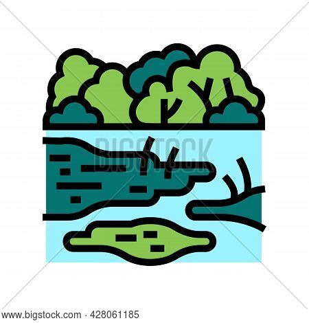 Rainforest Land Color Icon Vector. Rainforest Land Sign. Isolated Symbol Illustration