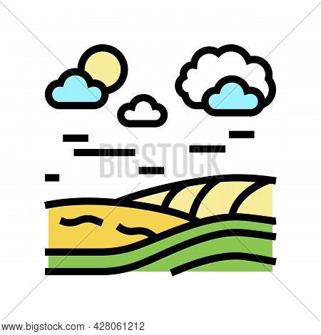 Meadow Land Color Icon Vector. Meadow Land Sign. Isolated Symbol Illustration
