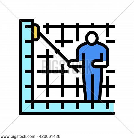 Cleaning Pool Walls Color Icon Vector. Cleaning Pool Walls Sign. Isolated Symbol Illustration