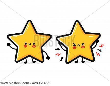 Cute Funny Sad And Happy Star Sign Character. Vector Hand Drawn Cartoon Kawaii Character Illustratio