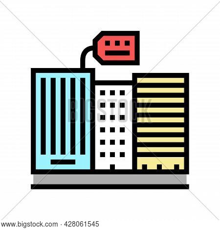 Rent In High Rise Building Color Icon Vector. Rent In High Rise Building Sign. Isolated Symbol Illus