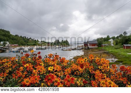 The Hamlet Of Halsa And Marina And Harbor With Many Boats And Colorful Flowers In The Foreground