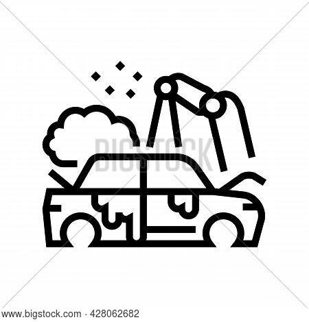 Factory Auto Paint Job Line Icon Vector. Factory Auto Paint Job Sign. Isolated Contour Symbol Black