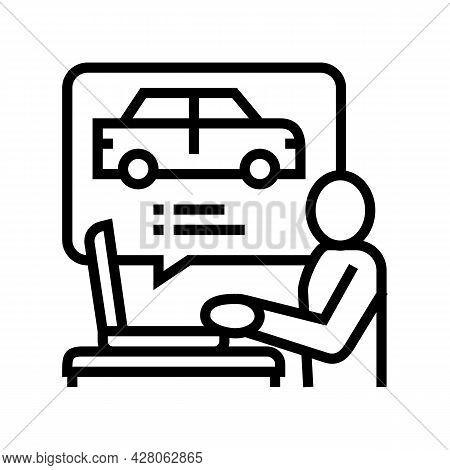 Driving Test Preparation Line Icon Vector. Driving Test Preparation Sign. Isolated Contour Symbol Bl