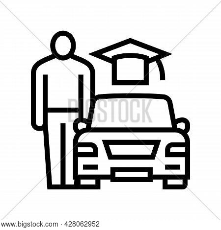 Driving Lessons For Adults Line Icon Vector. Driving Lessons For Adults Sign. Isolated Contour Symbo