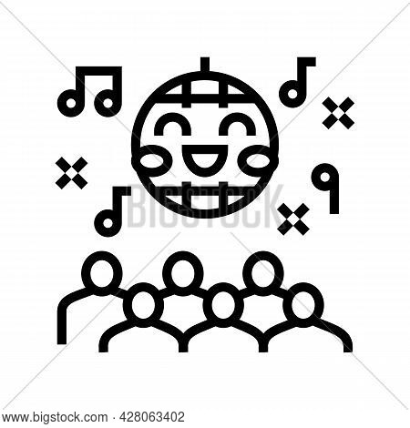 Disco Kids Party Line Icon Vector. Disco Kids Party Sign. Isolated Contour Symbol Black Illustration